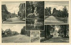 194 Ansichtkaart 'Groeten uit Gendringen' met foto's van Gendringen (Entree, Grotestraat met tramrails), de Anholtsweg, ...