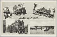 5446 Groeten uit Arnhem, Vijzelstraat, Musis Sacrum, Stadhuis, Rijn met Balley-brug, ca. 1950
