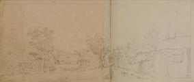 4186-0022v Gezigt op het gehugt Wernhout in de baronie van Breda (ook nog op achterzijde aangeplakt blad), [ca. 1768]