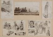 3605 Tekeningen en schetsen van Amsterdamse typen, en huis van Rexwinkel, 1848-ca. 1860