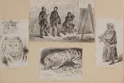3606 Tekeningen en schetsen van Amsterdamse typen en tijger in Artis, 1848-ca. 1860