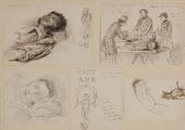 3615 Tekeningen van een dode matroos, en sectie op zijn lijk door Dr. Tilanus jr, Dr. van Leeuwen, Dr. Simons van ...